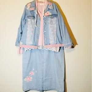 Plus Size Matching Set Jean Jacket Skirt Denim